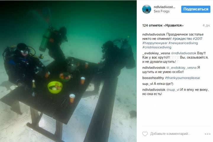 Дайверы Владивостока встретили Новый год под водой