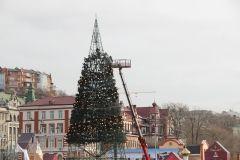 Во Владивостоке убирают главную елку