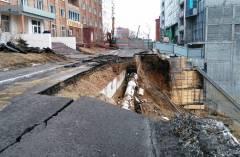 Во Владивостоке на улице Станюковича начали восстанавливать подпорную стену