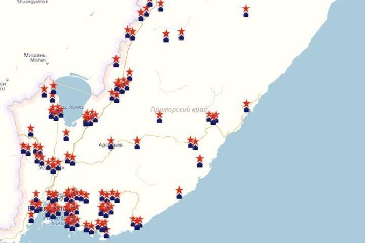 Приморцы нанесли на «Карту Памяти» более 120 памятников и мемориалов