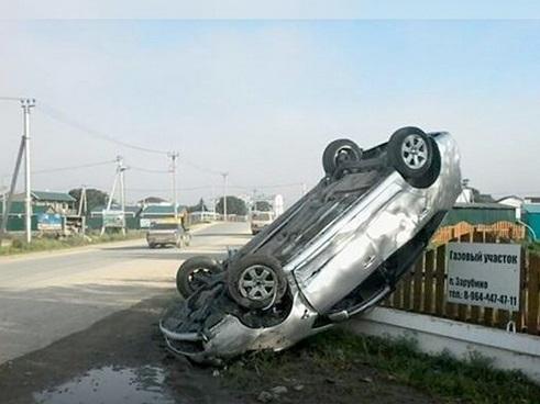 В Приморье в результате ДТП перевернулась иномарка