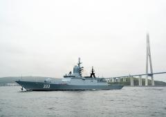 Парадный строй кораблей Тихоокеанского флота выстроился у берегов Владивостока ко Дню ВМФ