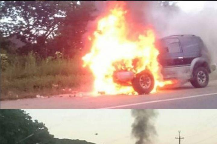 Джип загорелся во время движения по трассе Находка – Врангель в Приморье
