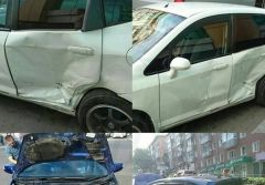Два «Фита» разбились на перекрестке в центре Владивостока