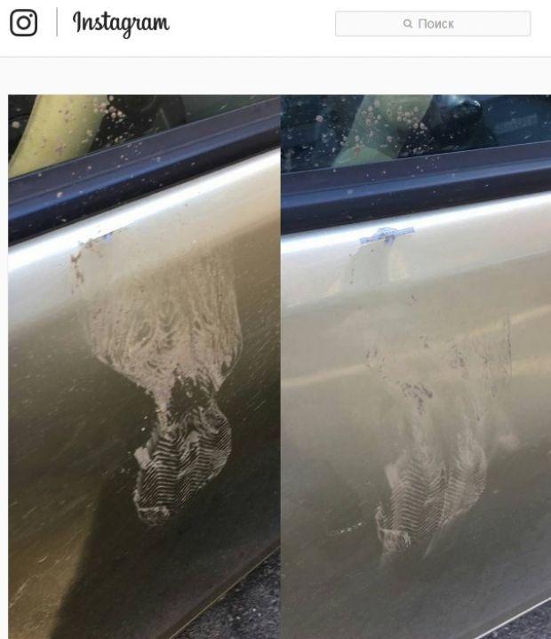 Неизвестный пнул автомобиль на улице Фокина