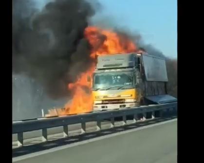 Большегруз загорелся на трассе в Приморье