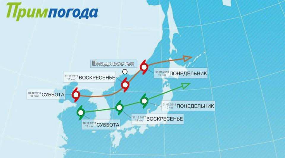 Главный синоптик Приморья предполагает две траектории новогоднего циклона