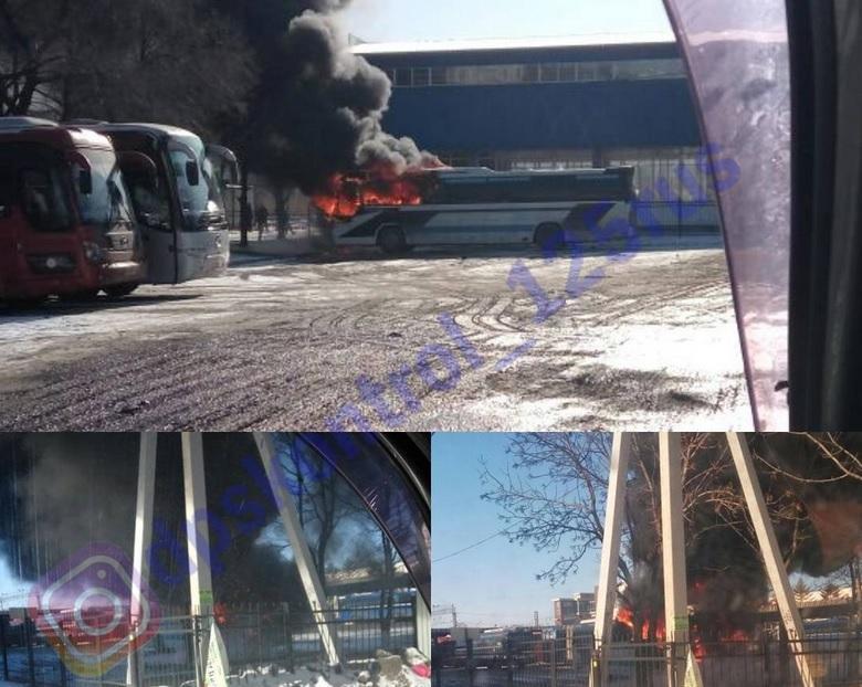 На автовокзале во Владивостоке сгорел автобус