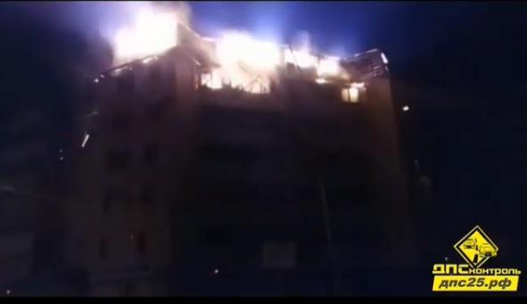 ВПриморье сгорел верхний этаж жилого дома
