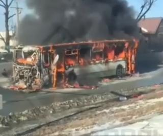Пассажирский автобус сгорел  во Владивостоке