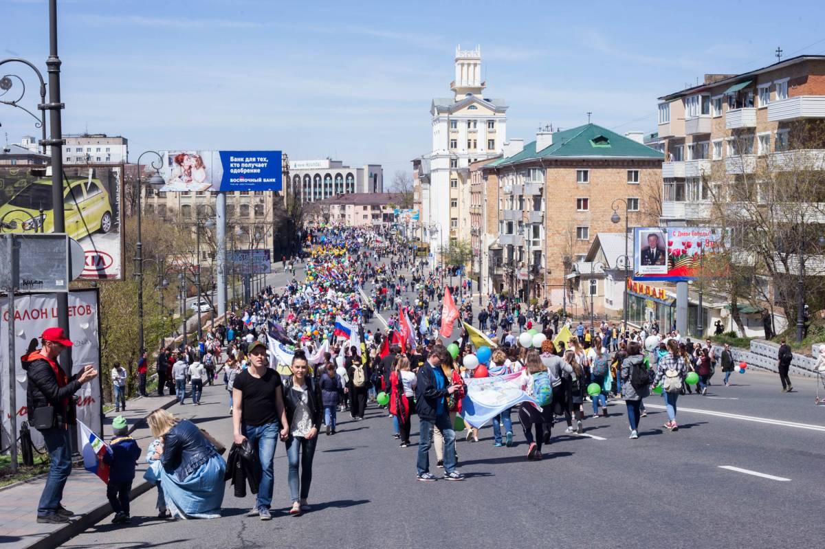 Первомайская демонстрация объединила представителей всех сфер жизни столицы Приморья