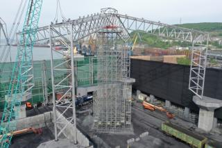 Фото: АО «Терминал Астафьева»   Навес в «Терминале Астафьева»: готова основа первого блока