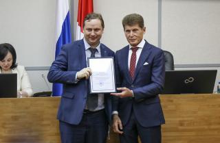 Фото: Диана Шарафулисламова   Олег Кожемяко поздравил приморскую «Опору России»