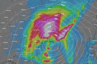 Фото: windy.com   Мощный тайфун затопит Приморье на один день позже