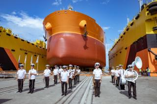 Фото: ССК «Звезда» | На судоверфи «Звезда» спустили на воду второй танкер типа «Афрамакс»