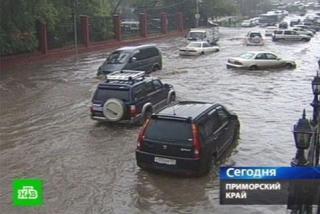 Фото: кадр телеканала НТВ   Озвучено точное время начала сильного ливня во Владивостоке