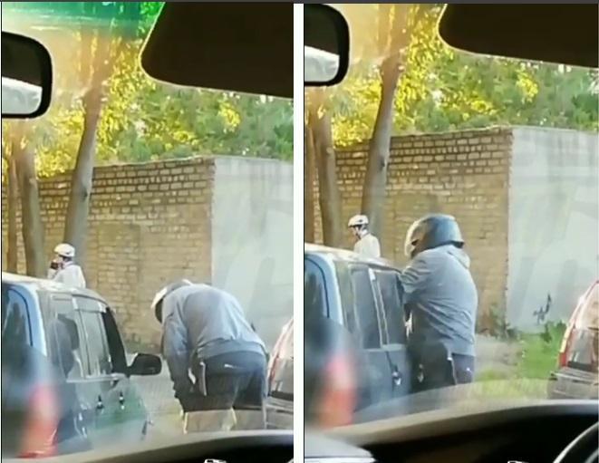 Во Владивостоке мотоциклист напал на водителя Probox