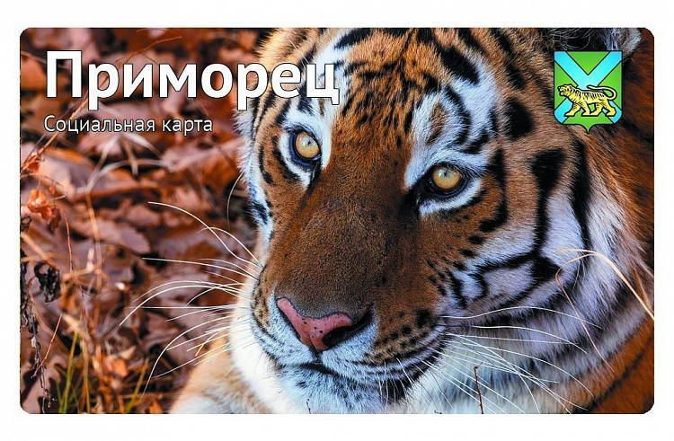 На социальной карте «Приморец» появится изображение уссурийского тигра