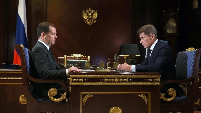 Медведев предложил Кожемяко разработать комплексный план по защите Приморья от наводнений