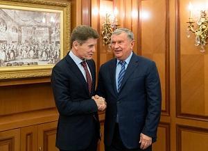 Врио губернатора Приморья Олег Кожемяко встретился с главой «Роснефти» Игорем Сечиным