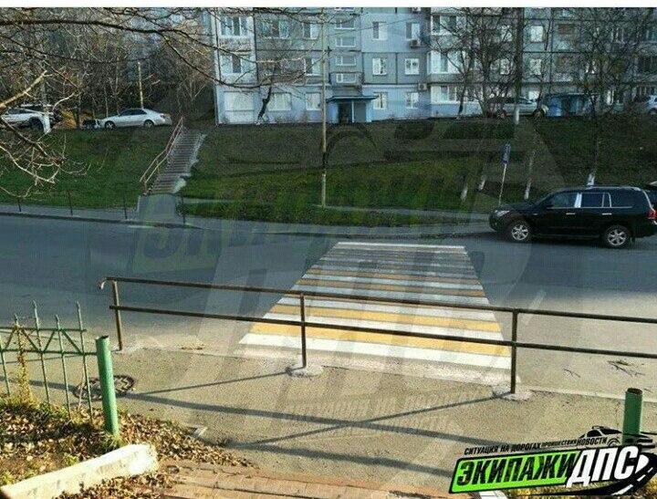 ВоВладивостоке дорожная зебра уперлась взабор