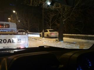 Владивостокские водители не смущались ездить по тротуарам после снегопада
