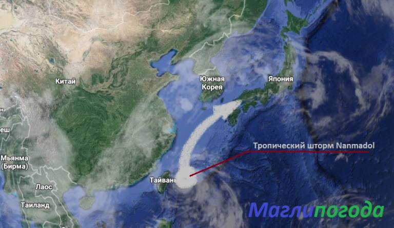 Тайфун «Нанмадол» движется всторону Японского архипелага